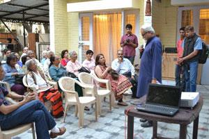Randhir Khare speaks a few words introducing Rahul Chandrawarkar