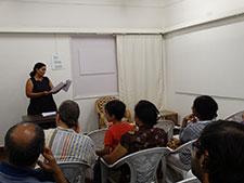 Patrons engrossed in Mukta's words