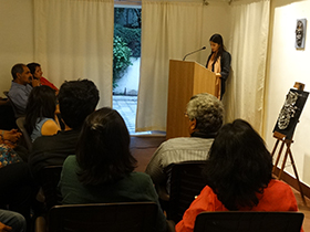 Reader, Namita Singh reading out Oriya story titled The Mask by Satkadi Hota from Gyaan Adab Book Collection - Beyond The Roots compiled by Kishori Charan Das.