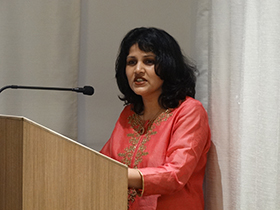 """Varsha Rakesh Shinde commenced GALE, reading from Khalil Gibran's The Prophet. """"...Your joy is your sorrow unmasked."""""""