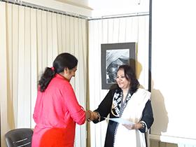 Mrs Nasima Merchant - Trustee of Gyaan Adab handed over certificates to participants