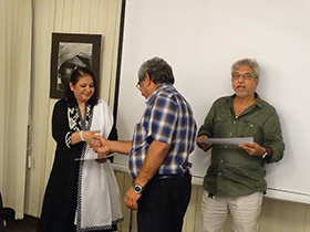 Mrs Nasima Merchant, Mr Freddie(participant) and Mr Anwar Mirza (emminent photographer)