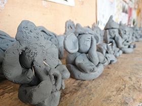 Ganesh idols made by the children