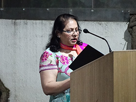 Mrs. Nasima Merchant spoke about the renowned poet Gulzar and his contribution to Hindi film songs