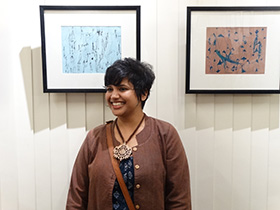 The young and talented Ishita with her work