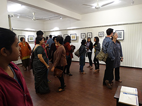 Patrons at the exhibition