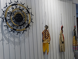 Distinctive puppets and wall art made by the artisans