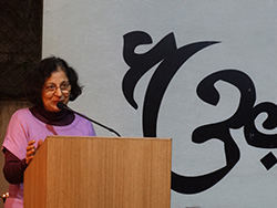 Managing committee member Mrs. Mohini Khot elucidates the importance of arts and literature