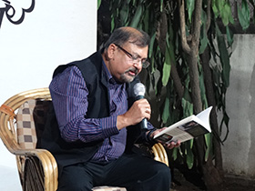 Dilip Mohapatra reading his poems