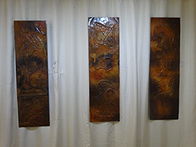Copper panels inspired by childhood stories