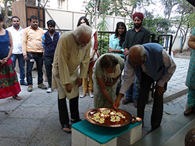 The opening of the exhibition with the lighting of the diyas