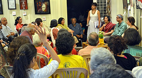 The audience have questions for the celebrated playwright and director