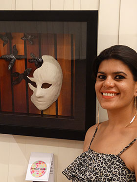 Founder of The Rollin' Canvas Pooja Shah with her 3D art