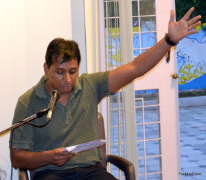 Hemant reads out from 'A Portrait of the Artist as a Young Man'.