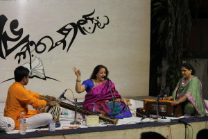 The concluding piece was in night raga Khamaj in a thumri style khayal, ending with Vaishanava Janato.