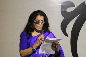 Vijaya Teksinghani introduces the concept of the play.