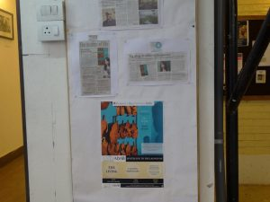Newspaper clippings and other media coverage about the book launch.